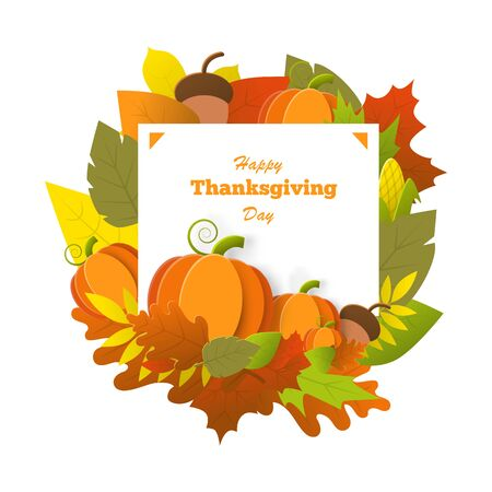 Thanksgiving day banner with pumpkin,leaf,acorn, corn isolated on a white background