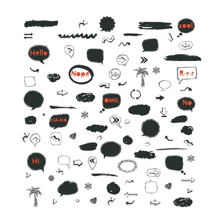 Vector speech bubble,stickers,arrows icon set isolated on a white background in black and red colors