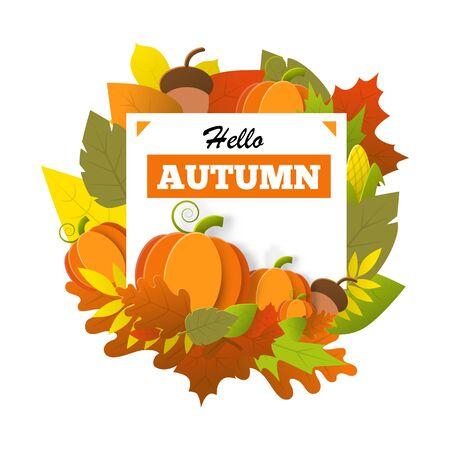 Hello autumn banner isolated