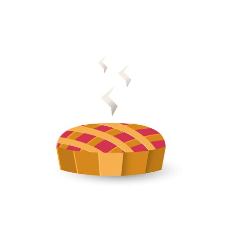 Vector autumn pie icon in flat style isolated on a white background. Ilustrace