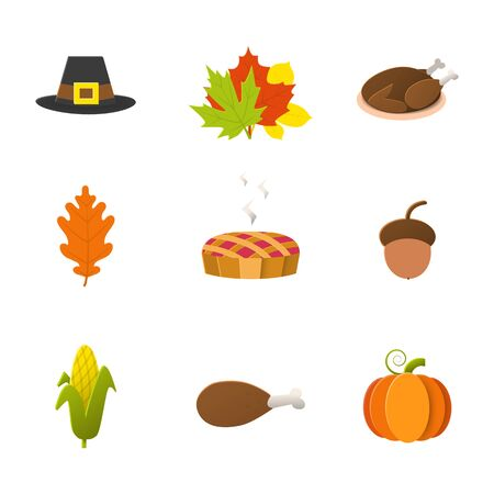 Thanksgiving day icon set with pumpkin,pie,turkey,leaf,acorn, hat, corn isolated on a white background