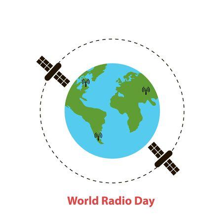 World radio day.Earth globe