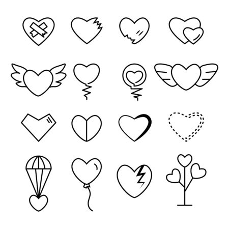 Heart outline black color set