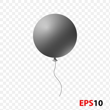Ballon realistic black isolated on a transparent background.Design element for celebration,kids design,surprise.Helium ballon..Flying ballon for party