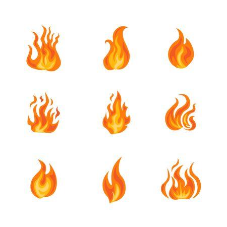 Fire frame icon set illustration