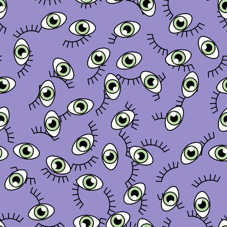 Eye icons pattern flat and outline style. Open and closed eyes images, sleeping eye shapes with eyelash, vector supervision and searching signs illustration on a background.Human see organ