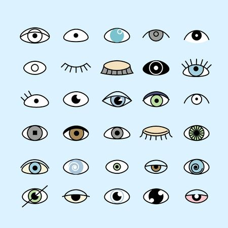 Eye icons set flat and outline style. Open and closed eyes images, sleeping eye shapes with eyelash, vector supervision and searching signs illustration isolated on a white background.Human organ