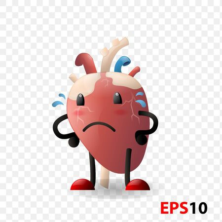 Heart. Human internal organ realistic organ sad character with face isolated against transparent background. Design element for Health care,medicine,anatomy education. Cardiology, Illustration
