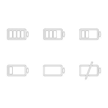 Battery icon set outline isolated on a white background