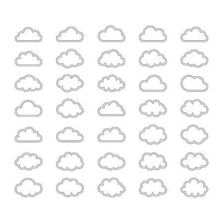 Cloud icon set outline over white big set nature