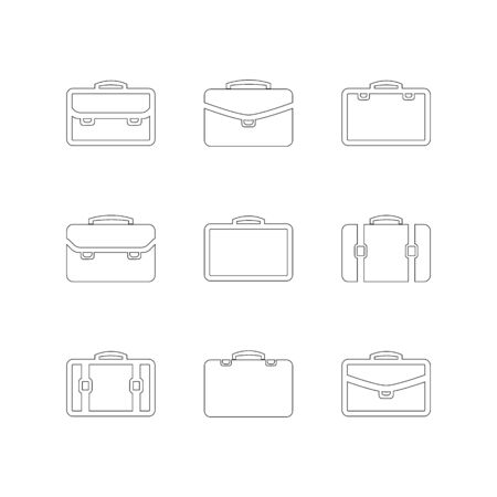 Briefcase icon set outline isolated on a white background