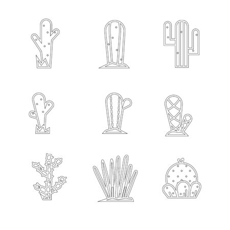 Cactus icon set. Vector collection of exotic plants. 向量圖像