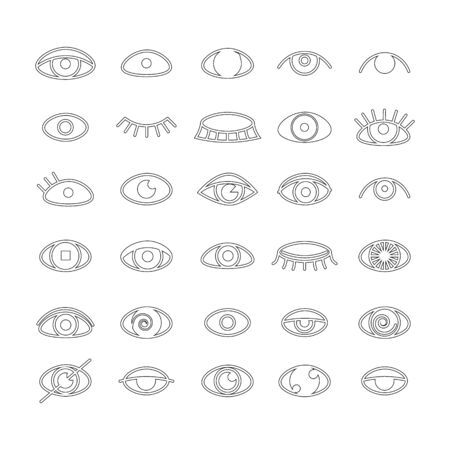 Eye icons set outline style. Open and closed eyes images, sleeping eye shapes with eyelash, supervision and searching signs illustration isolated on a white background. Human organ