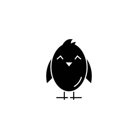 chick easter black icon isolated on a white background.Easter element design.Religion concept.Vector sign