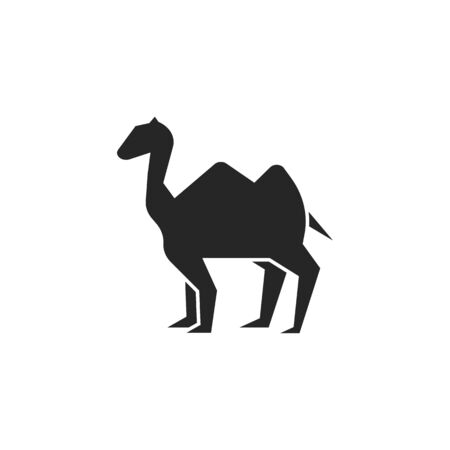 Camel animal black icon isolated on a white background.Ramadan holiday design element.Religion muslims sign