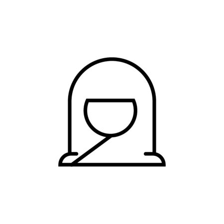 Muslim woman in avatar thin line icon isolated on a white background.Ramadan holiday design element.Religion muslims sign