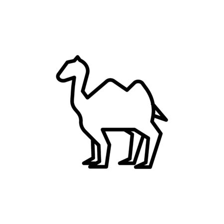 Camel animal thin line icon isolated on a white background.Ramadan holiday design element.Religion muslims sign