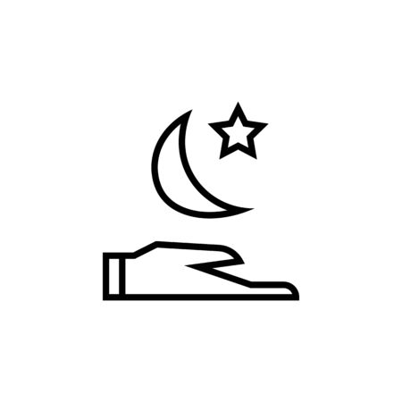 Hand with a t moon and a star thin line icon isolated on a white background.Ramadan holiday design element.Religion muslims sign