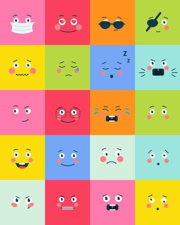 Iconos de emoción. Conjunto de símbolos planos de Emoji. Vector icono de sonrisa. Iconos de ilustración de emoticonos o emoji sobre fondo blanco.