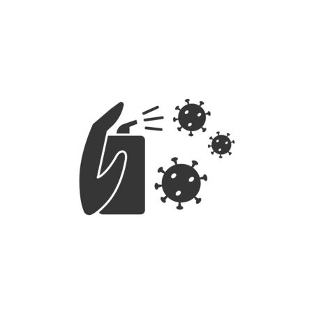 Hand with antiseptic in a bottle and desinfictant liquid kills germs and viruses icon black in flat style isolated on a white background