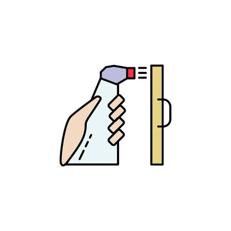 Hand with antiseptic in a bottle and desinfictant liquid sprays and processes the surface icon black in flat style isolated on a white background