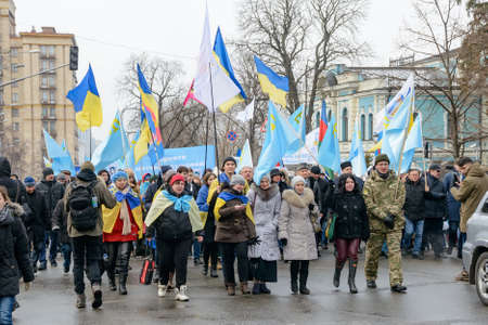 reside: KYIV, UKRAINE - FEBRUARY 26, 2017: On the streets of the city is a march of solidarity in support of the Crimean Tatars, Ukrainians and people of other nationalities who reside in a temporarily occupied Crimea and preserve their own dignity and loyalty to Editorial