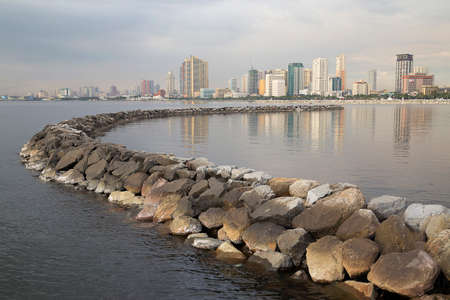 Manila Bay from the Harbour Square, Philippines Stock Photo
