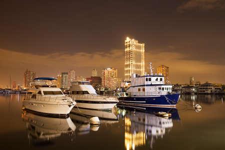 Yachts in Manila Bay, Harbour Square, Manila, Philippines Stockfoto