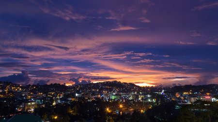 Night sunset view of Baguio from above