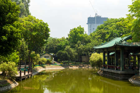 The picture of chinese garden with a pond in Rizal park, Manila, Philippines