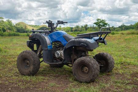 Bohol, Philippines - June, 20, 2019: ATV rental ride near Chocolate Hills