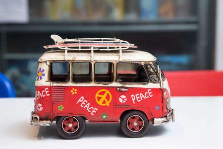 Manila, Philippines - August, 10, 2016: Painted hippie van, toy retro car