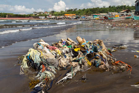 Manila, Philippines - September, 7, 2016: Ocean sea plastic pollution in Manila Bay shore