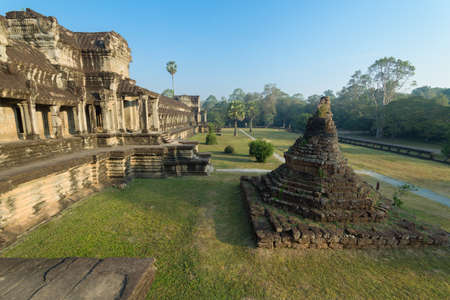 Ancient Khmer architecture in the morning. Panorama view of temple at Angkor Wat complex, Siem Reap, Cambodia