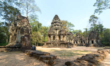 Cambodia, Siem Reap - January 30, 2017: The ruins of Angkor Wat Temple complex in Cambodia
