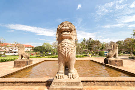 Siem Reap, Cambodia - February 2, 2017: City fountain with statues of lions