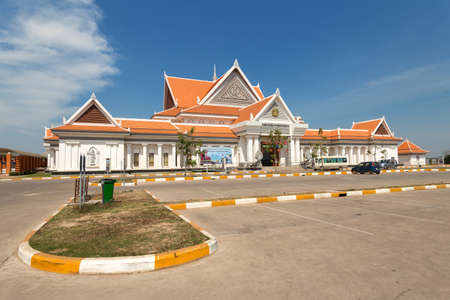 New ticket booth building to Angkor Wat temples in Siem Raep, Cambodia. Редакционное