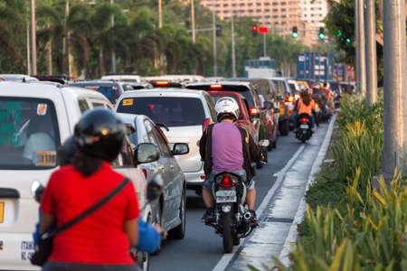 Manila, Philippines - May 16, 2017: Heavy traffic on the road of Manila in rush hour