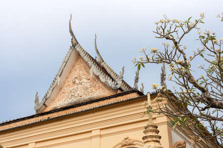 Flower tree in the garden of a temple in Siem Reap, Cambodia, blue sky 스톡 콘텐츠