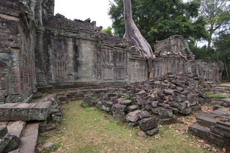 Scenic ruins of Angkor Wat Temple complex in Cambodia