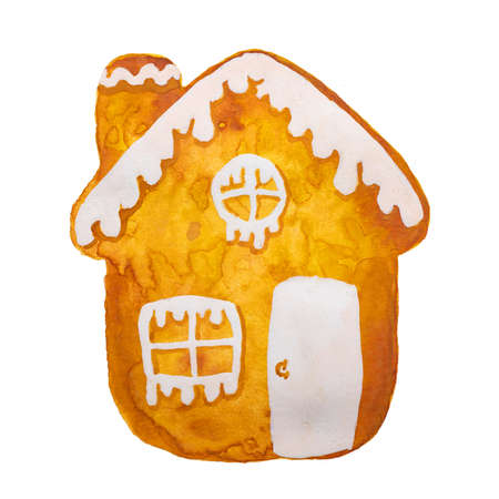 Hand drawn watercolor drawing of Christmas gingerbread house on white background, isolated