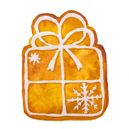 Hand drawn watercolor drawing of Christmas gingerbread present gift on white background, isolated