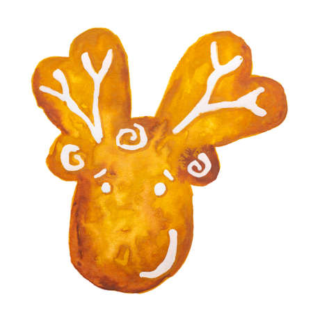 Hand drawn watercolor drawing of Christmas gingerbread reindeer on white background, isolated