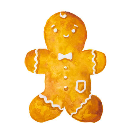 Hand drawn watercolor drawing of Christmas gingerbread man on white background, isolated Фото со стока