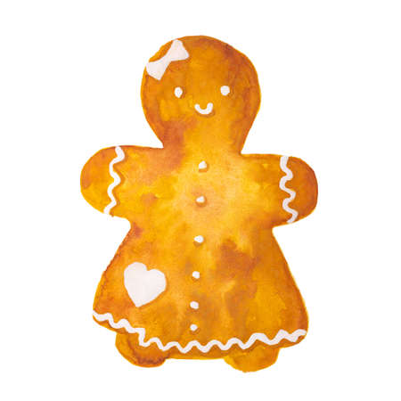 Hand drawn watercolor drawing of Christmas gingerbread girl on white background, isolated