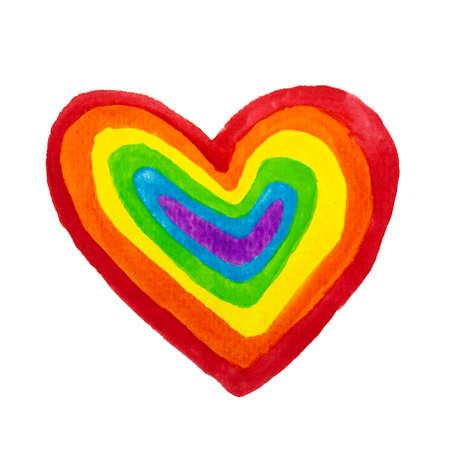 Hand drawn colored pencil heart shape rainbow colors. LGBT, LGBTQ+ or gay equality concept 版權商用圖片