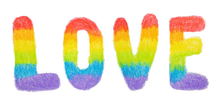Hand drawn colored pencil letters LOVE in rainbow colors. LGBT, LGBTQ+ or gay equality concept 版權商用圖片