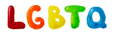 Hand drawn colored pencil letters LGBTQ in rainbow colors. LGBT, LGBTQ+ or gay equality concept