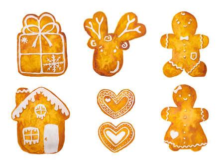 Disegno ad acquerello disegnato a mano della calza dell'albero del pupazzo di neve della stella del fiocco di neve dell'uomo di pan di zenzero di Natale, isolata