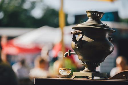 big Russian style teapot Stock Photo